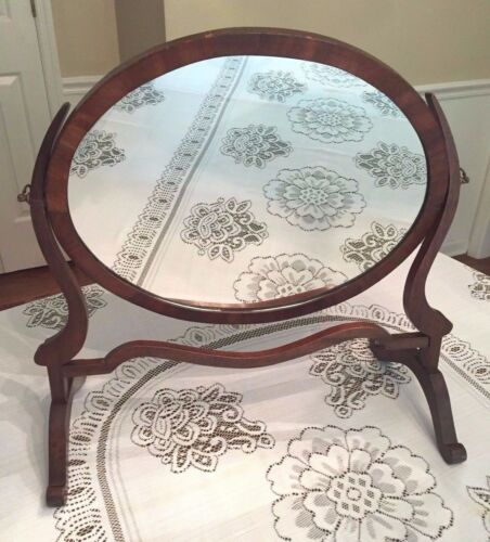 Antique Federal Style Oval Shaving Mirror
