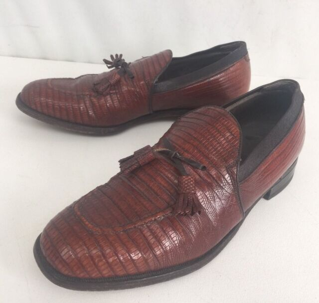 779acce0e23 Vintage mens footjoy classic genuine lizard brown tassel loafers jpg  640x609 Mens footjoy loafers
