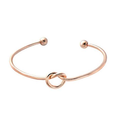 Female Adjustable Simple Tie Knot Bracelet Opening Bangles Wedding Trinket C