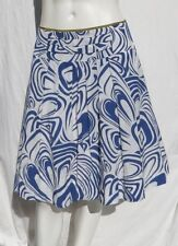 CABI # 470 Blue White Lombard Swirl Rayon Cotton Pleated A Line Skirt size S 4