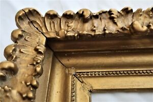 "SM ANTIQUE FITS 5 X 7"" GOLD PICTURE FRAME WOOD GESSO ORNATE FINE ART COUNTRY"