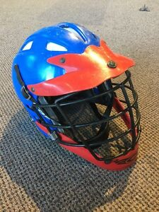 Cascade Lacrosse Helmet - Blue And Red - Adult Size XS