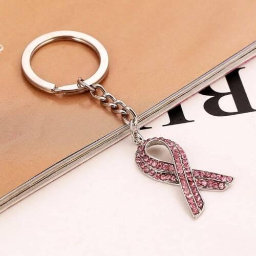 1PC cristal bien commun de la sensibilisation au cancer Noeud charme Porte-clés sac a main pendentif