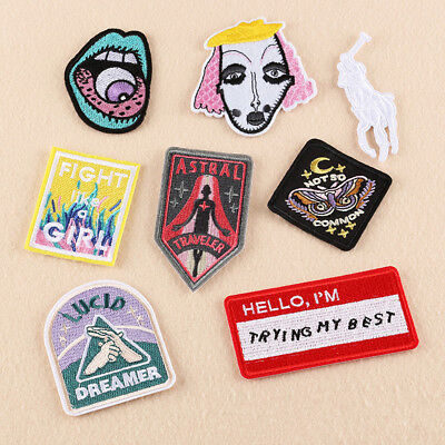Embroidery Sew Iron On Patch Badge Transfer Fabric Bag Jeans Applique Craft X