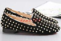 Womens flat Punk rivet Spike Studded Loafer suede Shoes New plus size fashion