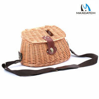 Creel Vintage Wicker Basket Fly Fishing Basket Willow With Strap Angler Tool