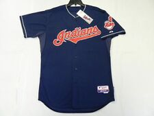 Authentic Majestic 52 2XL, CLEVELAND INDIANS BLUE, COOL BASE ON FIELD Jersey