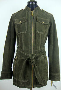 Details zu MICHAEL KORS Lederjacke Damen Jacke Leather Jacket Oliv Gr.M NEU mit ETIKETT