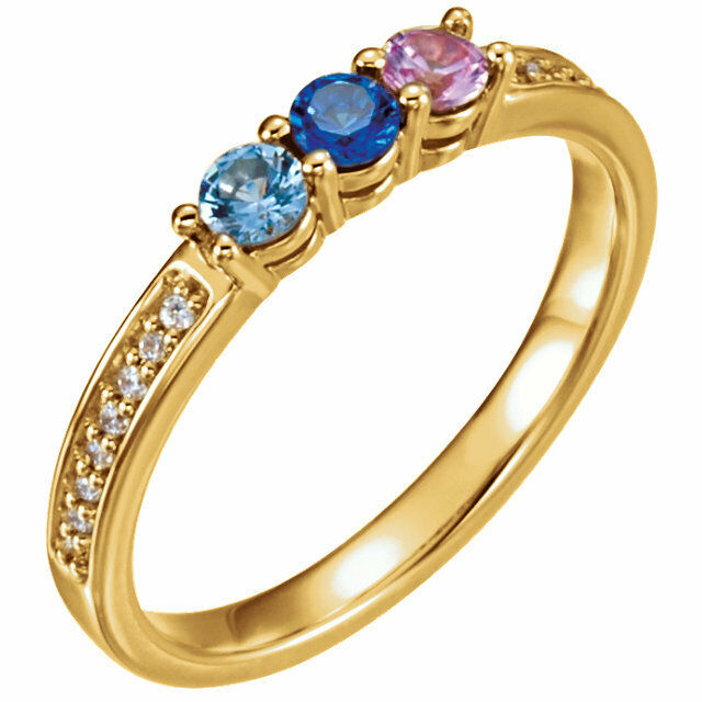 14K Solid gold Mother's Ring 1 to 6 Birthstones, Moms family Jewelry Ring