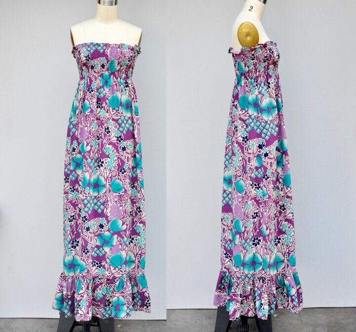WHAT GOES AROUND COMES AROUND Dress - SILK Floral Dress Boho Maxi Hawaiian XS