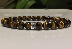 Bead-bracelet-Solid-Sterling-Silver-amp-Tiger-Eye-beads-CUSTOM-FIT