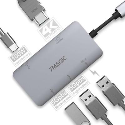 3 USB USB C Hub 7MAGIC 5-in-1 USB C to 4K HDMI Adapter with 100W Power Delivery