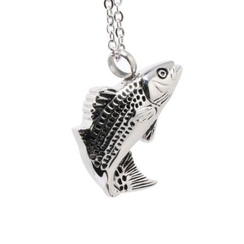 Fish Design Crémation Urne Cendres Porte Souvenir Pendentif Pour Collier Bijoux