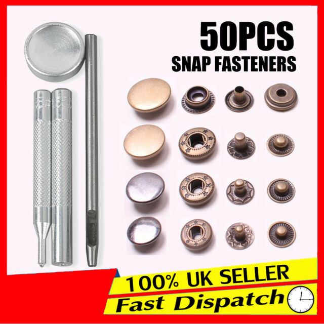 50 Press Studs Heavy Fasteners 10/12 5/15/17mm Buttons Duty Tool Kit sets  Snap