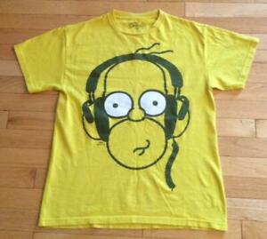 The Simpsons Homer Simpson Headphones Men's Yellow T-Shirt ...