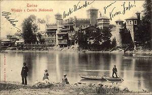 Turin-Torino-Italien-AK-1900-Villaggio-Castello-Medioevale-Burg-Verlag-Modiano
