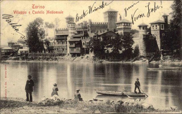 Turin Torino Italien AK ~1900 Villaggio Castello Medioevale Burg Verlag Modiano