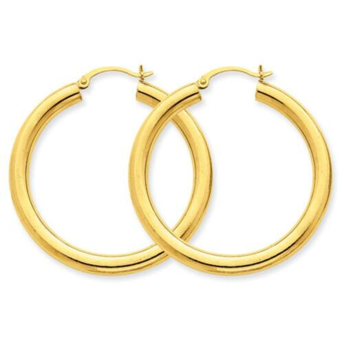 14k Yellow Gold Polished 4mm Lightweight Round Hinged Hoop Earrings 40mm