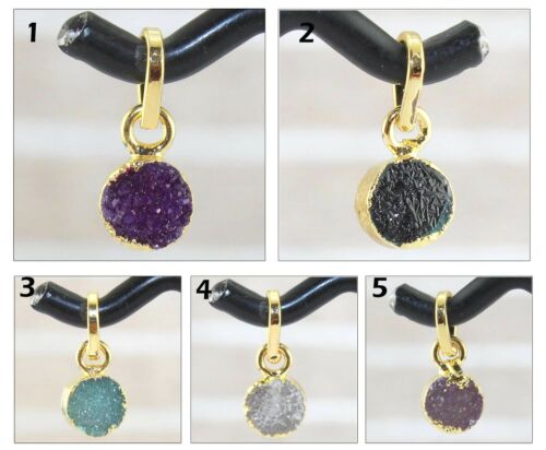 Natural Multi Sugar Druzy 24k Gold Electroplated Charms Pendant Jewelry 1 Pcs