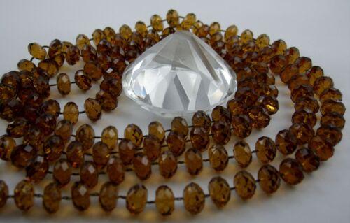 Zimt Zitrone Auswahl Lange Facettierte Kunst Perlenkette 132 cm lang Orange