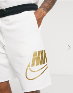 Men's Nike Sportswear Alumni Metallic Gold Terry Shorts M White AW77 Casual