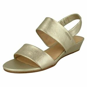 8c3137878261 Ladies Clarks Sense Lily Smart Leather Low Wedge Heeled Sandals