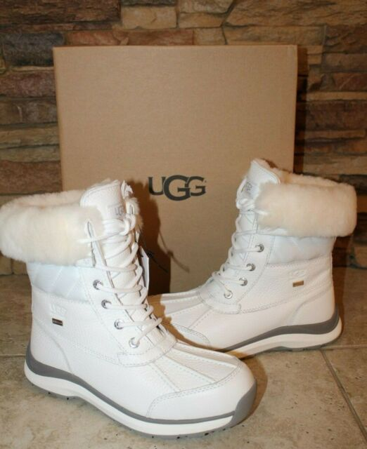 uk availability entire collection special for shoe NIB UGG Women's ADIRONDACK III Leather Quilted Winter Waterproof Boots WHITE