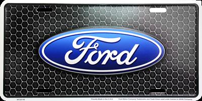 Ford Logo Alluminio Nero Novità Targa Targhetta Per Anteriore Di Auto-camion