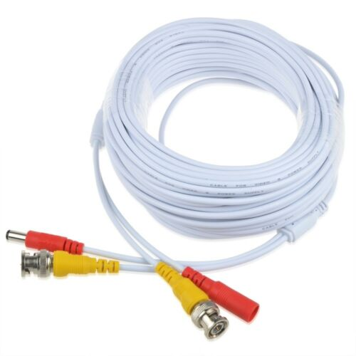 50ft BNC Video and Power Cable Wire Cord w// Connector for CCTV Security Camera