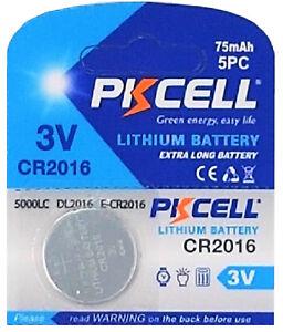 100-x-CR2016-3V-Lithium-Knopfzelle-75-mAh-20-Blistercard-a-5-Batterien-PKCELL