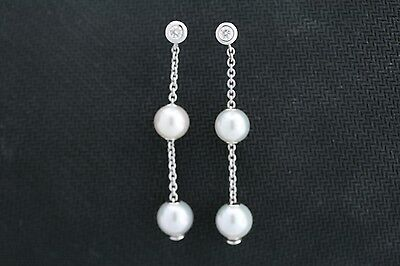 Mikimoto 18k White Gold 7.3-7.7mm Pearl & .20ct Round Diamond Earrings w/ Box