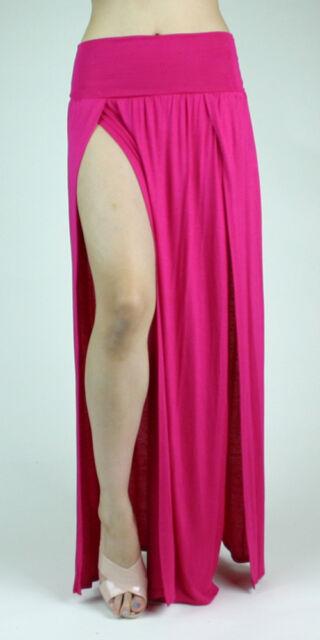 e7371f8b9ec Double Slit Long Maxi Skirt High Banded Waist Full Length Two Split Plus  Size US