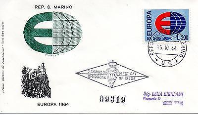 Treu San Marine 1964 Fdc Filagrano Europa Racc Briefmarken