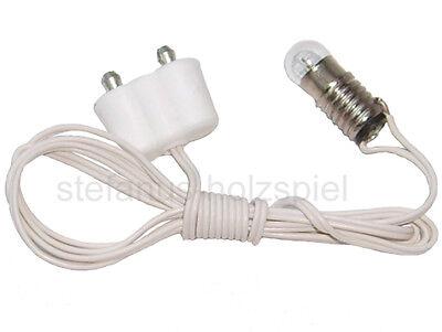 Fassung E5,5 an Kabel+Stecker für 3,5V Puppenhausbeleuchtung