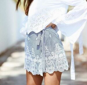 ZARA-CHECKED-GINGHAM-Embroidered-CUT-WORK-EYELET-WRAP-SHORTS-SKORTS-CULOTTES