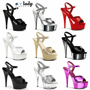 PLEASER High Heel Ankle Strap Platform Sandal DELIGHT-609 Black Silver Chrome