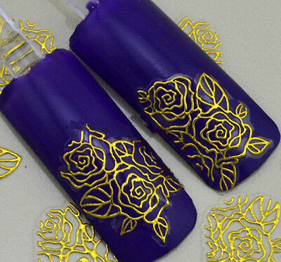 Lots 3D gold Decal Stickers Nail Art Tip DIY Decoration stamping Manicure F4LL