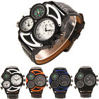 Luxury Men's Military Sport Quartz Dial Stainless Steel Leather Band Wrist Watch