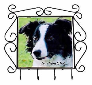Border-Collie-Dog-039-Love-You-Dad-039-Wrought-Iron-Key-Holder-Hooks-Christm-DAD-18KH
