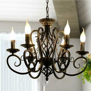rustic country chandelier,6 lights farmhouse candle iron