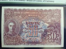 1941 Malaya Malaysia British 50 Cents PMG 64 Pick 10b KNB10b-d