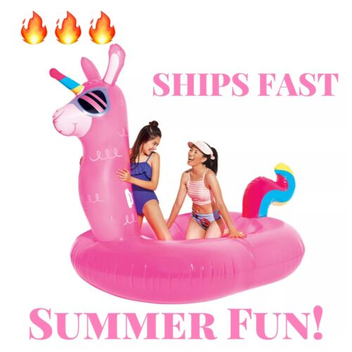 """Play Day Inflatable Llama Unicorn Float Fun 6/' 10/"""" Includes Patch Kit