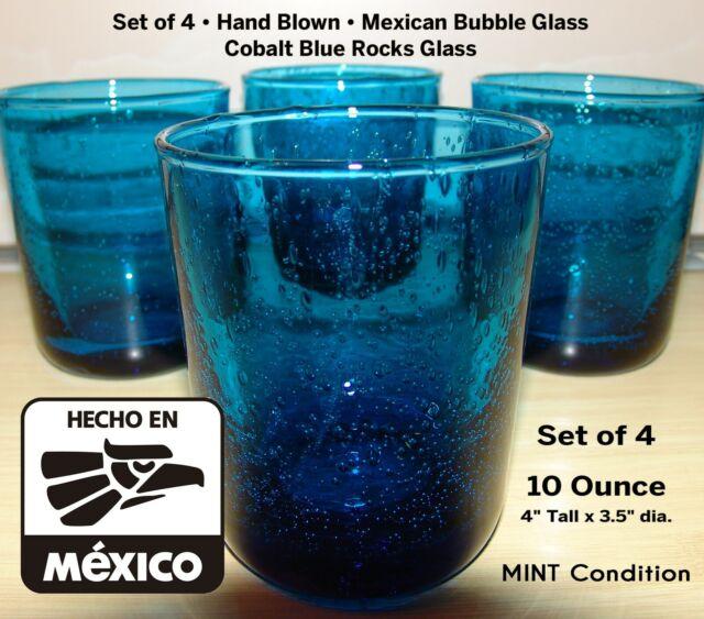 Mexican Hand Blown Bubble Glass Tumbler - Cobalt Blue Rocks Glass - Set of 4