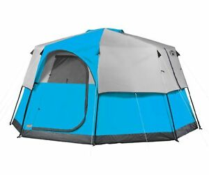 Coleman-8-Person-2-Room-Octagon-98-Family-Camping-Tent-w-RainFly-13-039-x-13-039