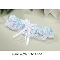 Wedding Garters Satin & Lace, Ribbon Bow w/ heart Blue,Black,Red,Pink,White,Pink
