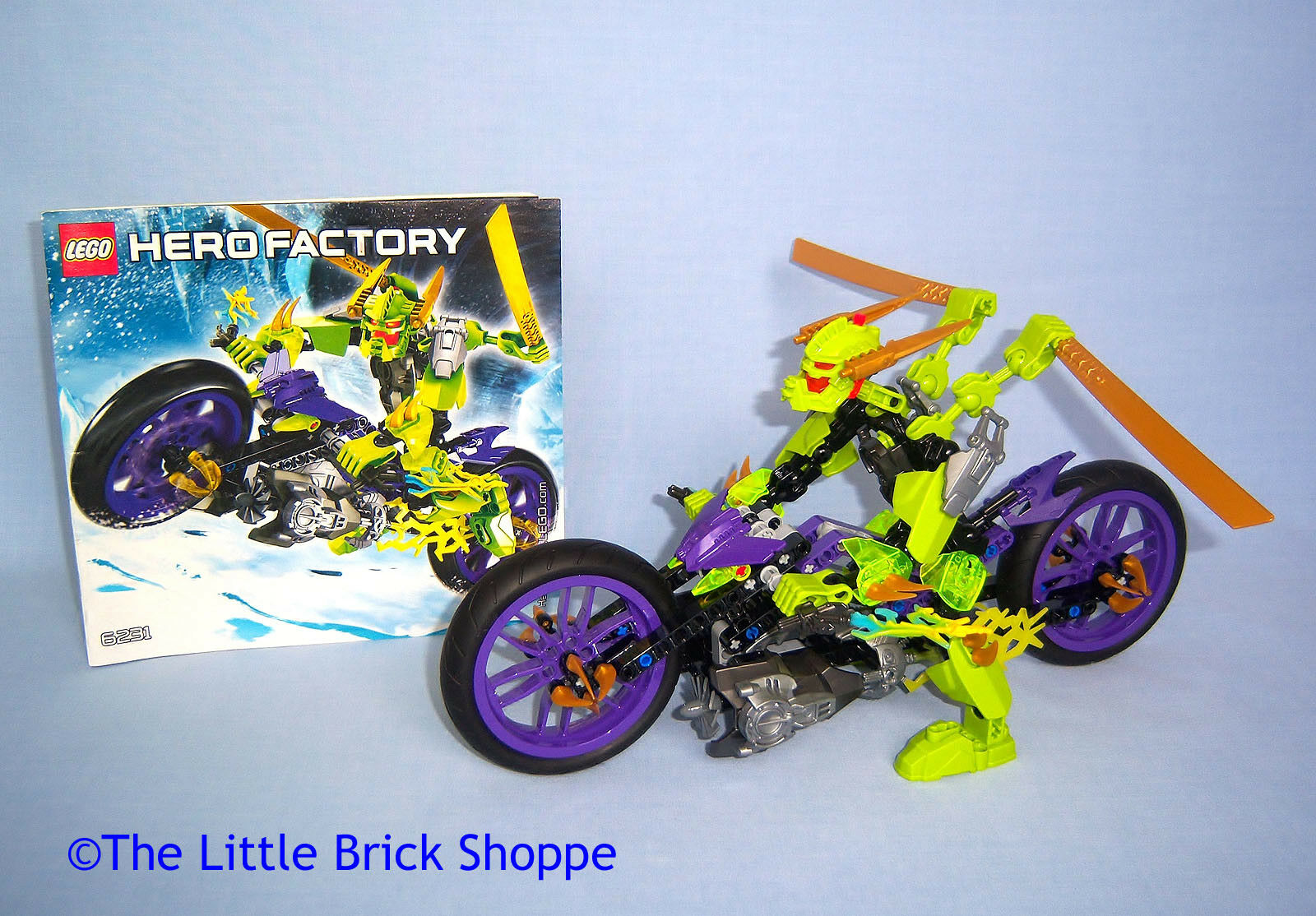 Rare Lego Hero Factory 6231 SPEEDA DEMON - Complete figure bike & instructions