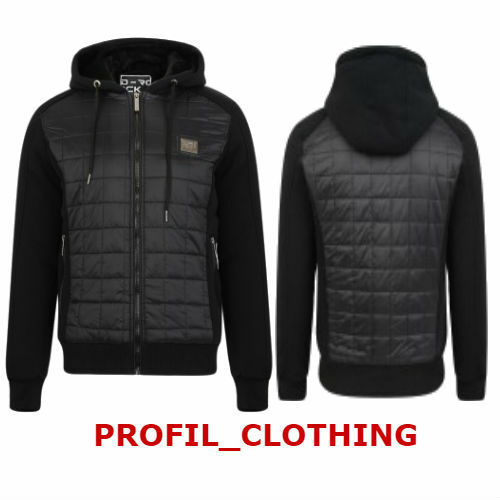 New Mens Boys D-ROCK Fur Lined Hooded Hood Zip Through Jacket With Quilted Panel