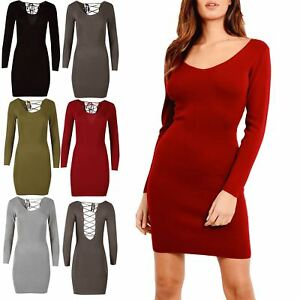 Womens Ladies Knitted V Neck Lace Up Deep Back Long Sleeve Bodycon Mini Dress