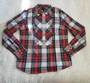 54a1e073755 NEW WOMEN S 2 J CREW FESTIVE PLAID BUTTON UP SHIRT IN WARM RED