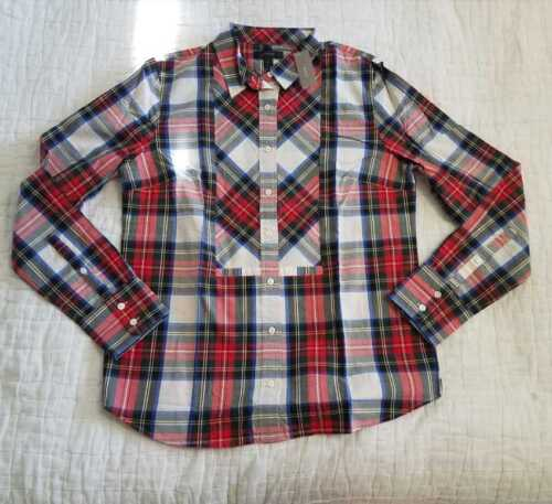 NEW WOMEN/'S 2 J CREW FESTIVE PLAID BUTTON UP SHIRT IN WARM RED